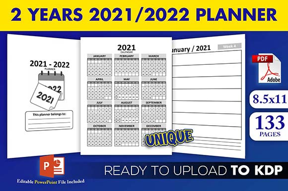 2 Years 2021-2022 Calendar Weekly Planner KDP Interior Ready to Upload
