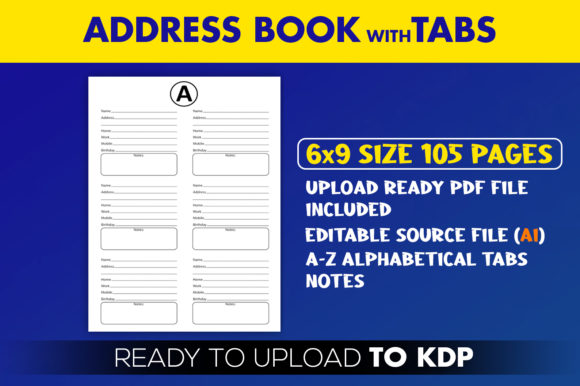Address with Alphabetical Tabs Record Book | KDP Interior