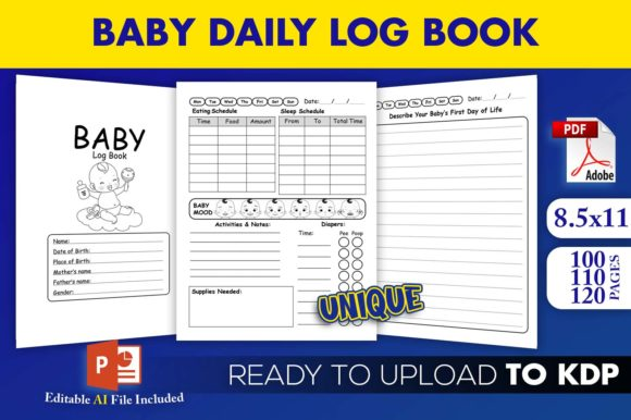 Baby Daily Log Book KDP interior Editable PowerPoint file