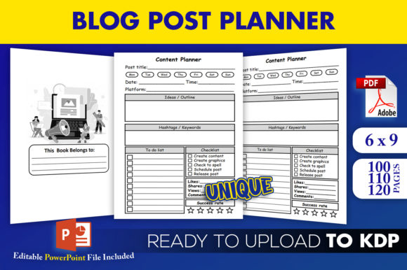 Blog Post Planner Content Creator KDP Interior