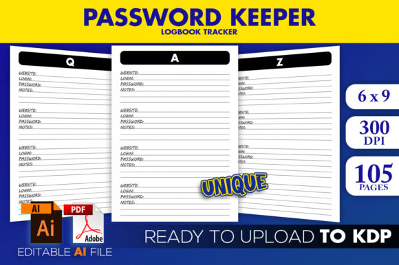 KDP Interior Password Tracker Logbook