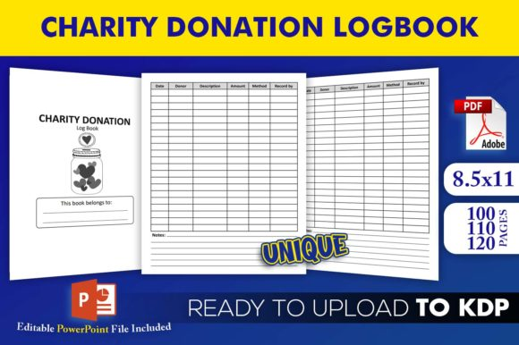Charity Donation Log Book | KDP Interior Editable PowerPoint Template