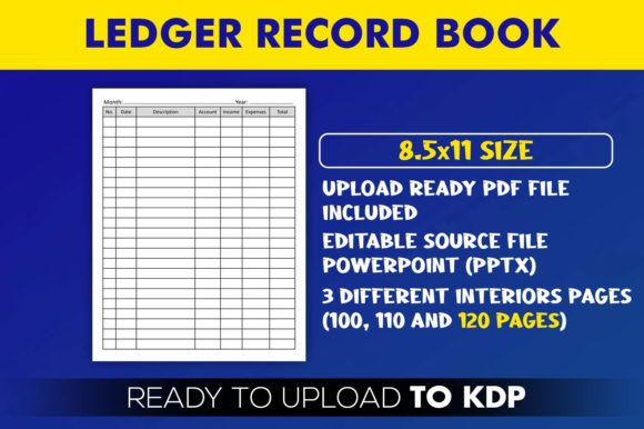 Accounting Ledger Record Book | KDP Interior Editable PowerPoint Template
