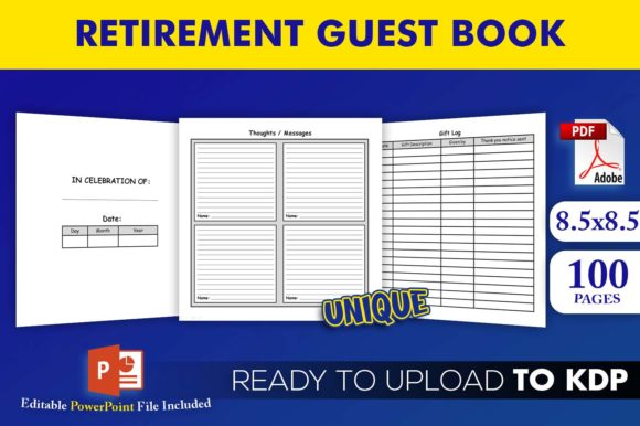 Retirement Guest Book | KDP Interior Editable PowerPoint Template
