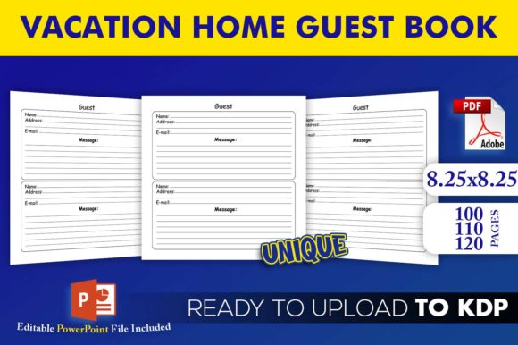 Vacation Home Guest Book | KDP Interior Editable PowerPoint Template