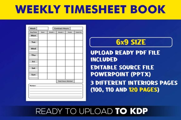 Weekly Timesheet Book | KDP Interior Editable PowerPoint Template