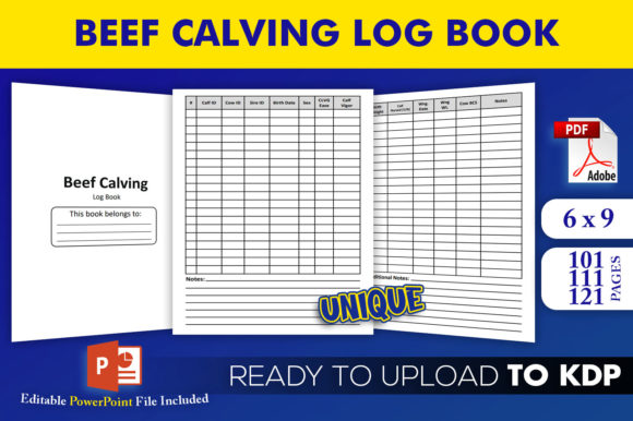 Beef Calving Log Book | KDP Interior Editable PowerPoint Template