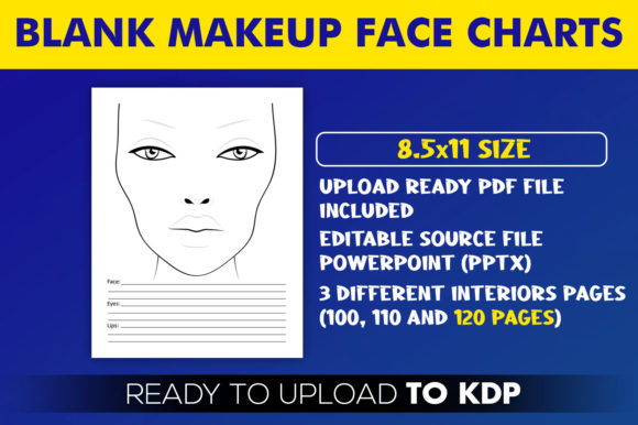 Blank Makeup Face Charts | KDP Interior Editable PowerPoint Template