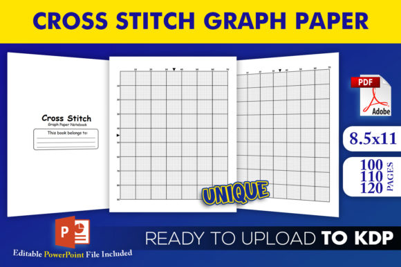 Cross Stitch Graph Paper Notebook | KDP Interior Editable PowerPoint Template