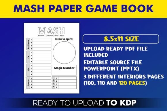 MASH Paper Game Book | KDP Interior Editable PowerPoint Template