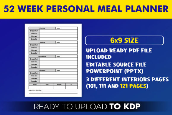 52 Week Personal Meal Planner | KDP Interior Editable PowerPoint Template
