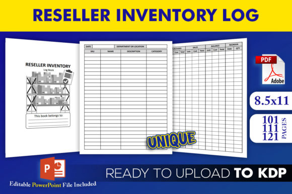 Reseller Inventory Log Book | KDP Interior Editable PowerPoint Template