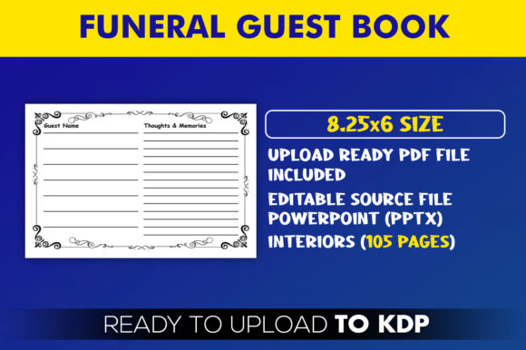 Funeral Guest Book KDP Interior Template Ready to Upload