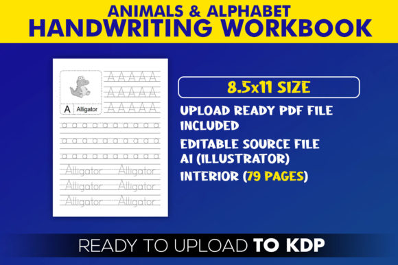 ABC Handwriting Workbook Letters Tracing KDP Interior Template