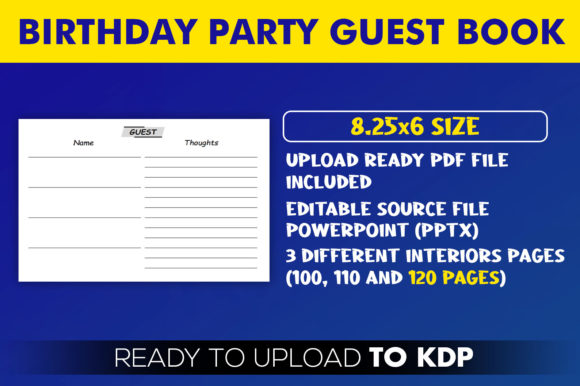 Birthday Party Guest Book | KDP Interior Editable PowerPoint Template
