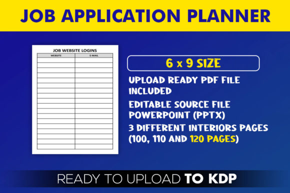 Job Application Planner | KDP Interior Editable PowerPoint Template