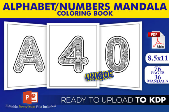 Alphabet and Numbers Mandala Coloring Book for KDP Manuscript Ready to Upload