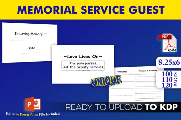 Memorial Service Guest Book | KDP Interior Editable PowerPoint Template