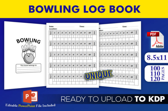 Bowling Log Book | KDP Interior Editable PowerPoint Template