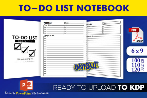To Do List Notebook | KDP Interior Editable PowerPoint Template