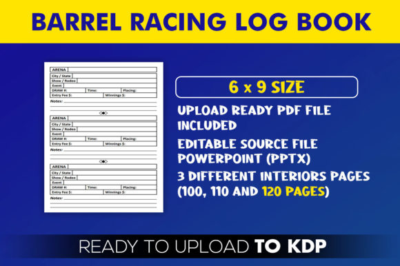 Barrel Racing Log Book | KDP Interior Editable PowerPoint Template