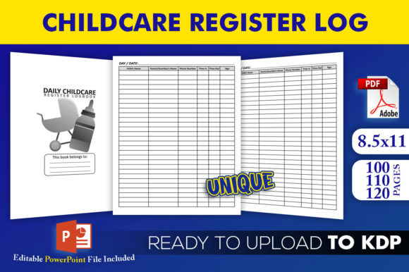 Daily Childcare Register Log Book | KDP Interior Editable PowerPoint Template