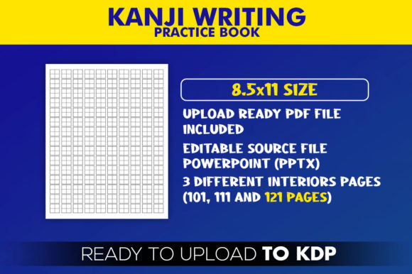 Kanji Writing Practice Paper Book | KDP Interior Editable PowerPoint Template