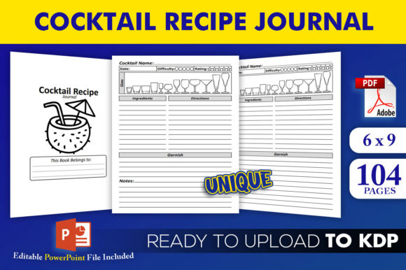 Cocktail Recipe Journal   KDP Interior Editable PowerPoint Template