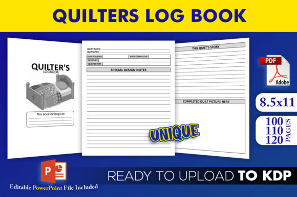 Quilter's Logbook   KDP Interior Editable PowerPoint Template